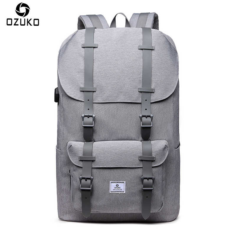 OZUKO Brand External USB Charge Backpack Large Capacity Male Mochila Laptop  Backpack Men women School Bags 842938240582d