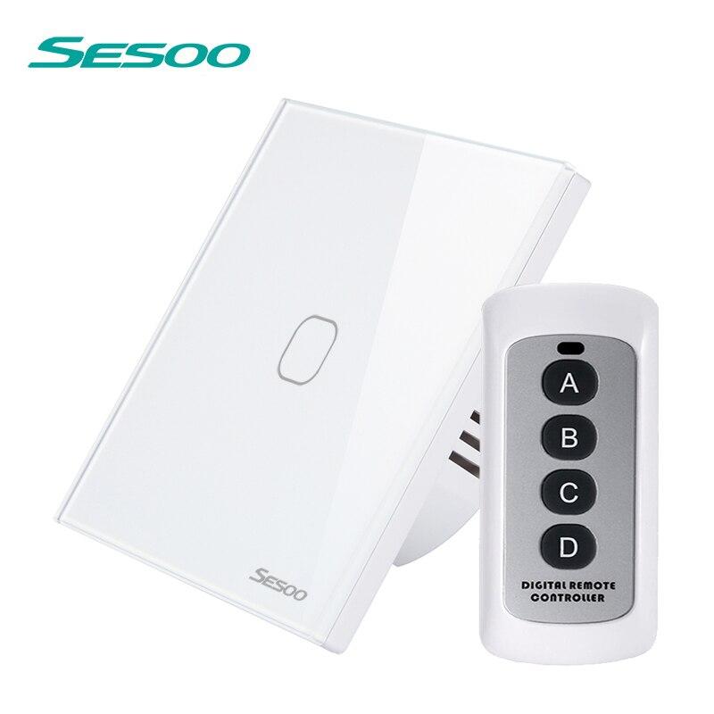SESOO Interruptor de Controle Remoto 1/2/3 Gang 1 Way Toque Parede Interruptor de Luz Inteligente Indicador LED de Cristal Painel de Vidro temperado