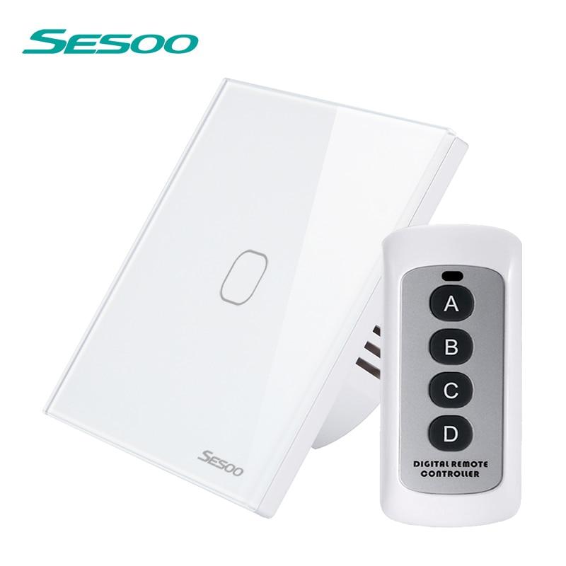 SESOO interruptor de Control remoto 1/2/3 Gang 1 manera pared inteligente Interruptor táctil indicador LED cristal panel de vidrio templado