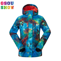 GSOU SNOW Winter Women Ski suit Warmth Outdoor Snowboard Jacket Waterproof windproof Breathable Lady Sports Jackets Plus Size