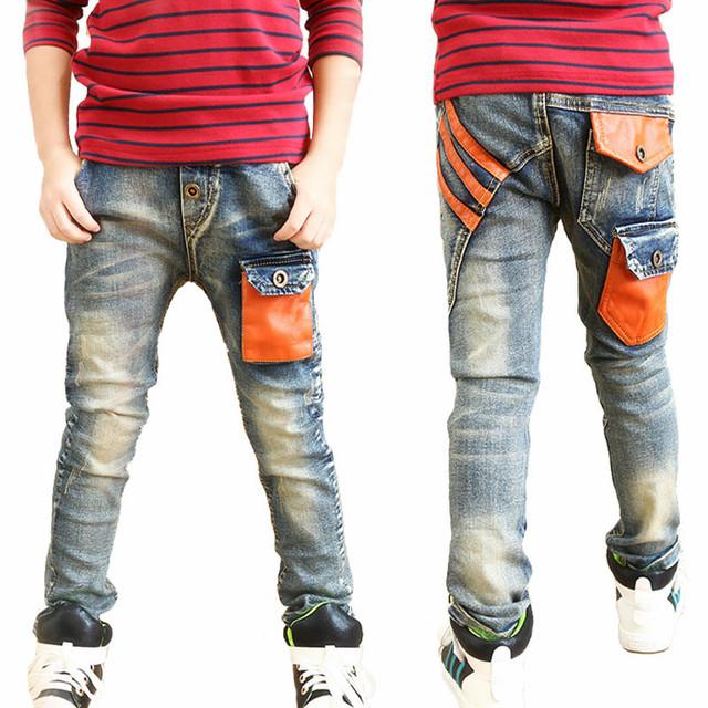 2016 Calças Novas Crianças Jeans Meninos Verão Outono Designer de Moda calças de Brim Menino Denim Calça Casual Coreano Calças Jeans Para Os Meninos 3 ~ 12yrs