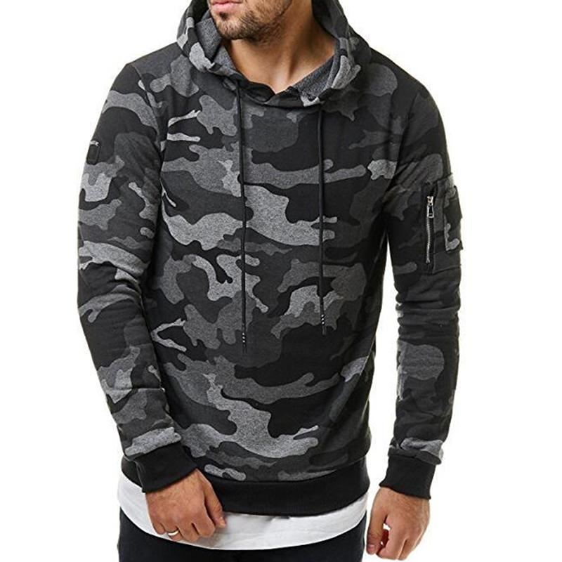 MISSKY Spring Autumn Men Sweatshirt Fashionable Hoodie Cool Camouflage Sweatshirt Casual Camo PulloverMale Tops