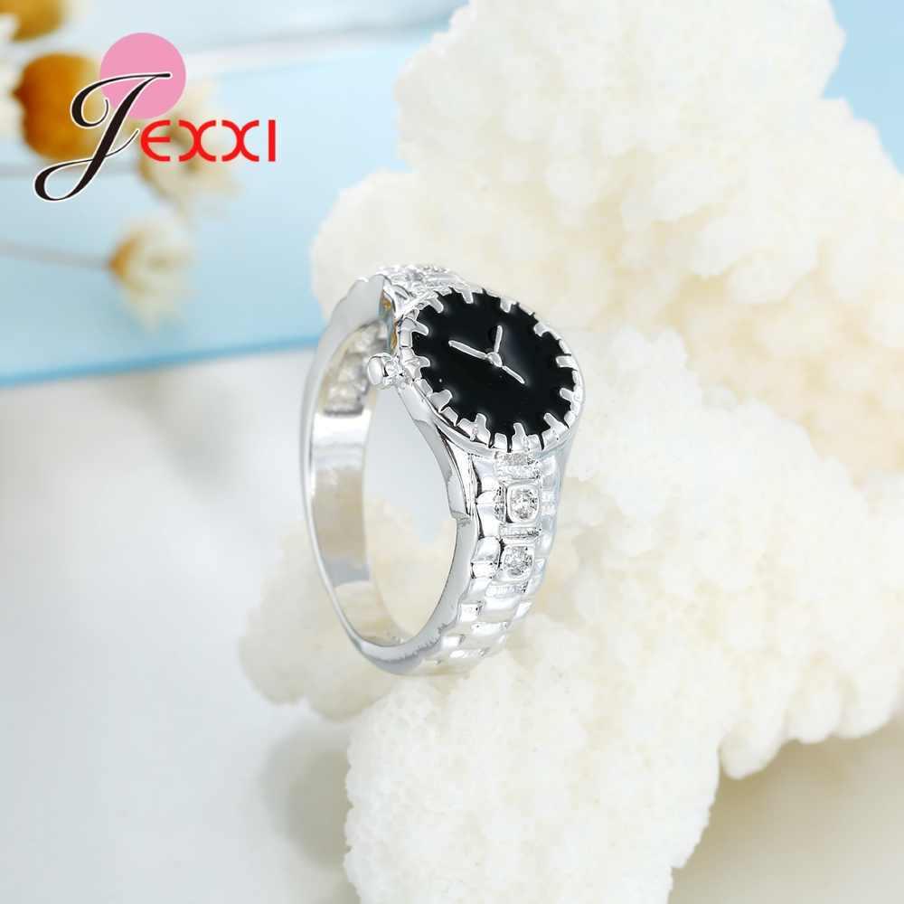 น่ารักแบบสบายๆสีขาว/สีดำเงินแหวน 925 เงินสเตอร์ลิง SilverBrand ใหม่เครื่องประดับสำหรับหญิงสาวน่ารักของขวัญ