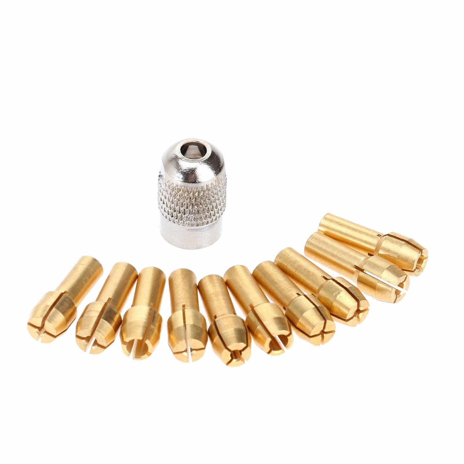 Dophee 0.5mm-3.2mm Brass Dremel Collet Mini Drill Chucks 4.3mm Shank For Dremel Rotary Tool+1Pc 8 X0.75 Mill Shaft Screw Nut Cap