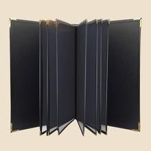 Тяжелый прочный A4 6/8 листов из искусственной кожи Обложка меню держатель для ресторана с 12 страниц пластиковые ПВХ карманы, меню книга белый красный