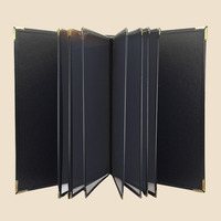 A4 6/8 sheets PU Leather Cover Menu Holder For Restaurant With 12 pages Plastic PVC Pockets, Menu book/binder