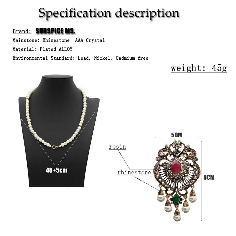 SUNSPICE MS retro bead chain necklace earring sets for women etnic wedding jewlery Morocco DUbai traditional Jewelry vintage new