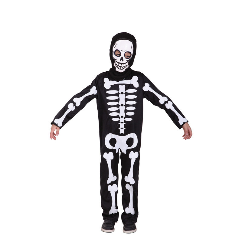 Boys Kids Skull Skeleton Ghost Jumpsuit Halloween Masquerade Scream Costume