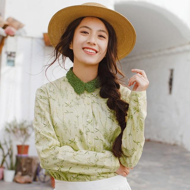 INMAN nouveaux produits femmes printemps vêtements broder revers Blouses dessus de chemise