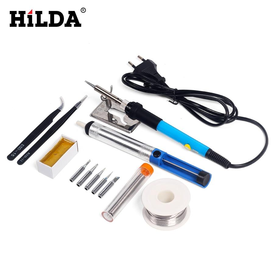 hilda adjustable temperature 220v 60w electric soldering iron set welding solder station heat. Black Bedroom Furniture Sets. Home Design Ideas