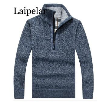 Autumn Winter New Men Zipper Sweater Pullovers Stand Collar Slim Fit Thick Sweaters Male Solid Color Knitted Pullover 3XL