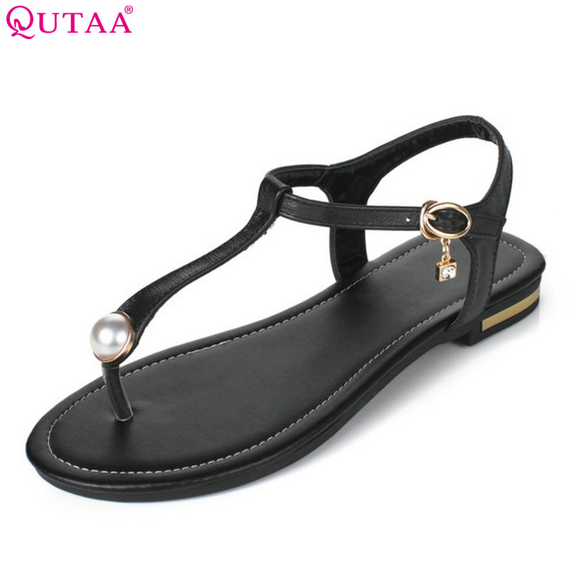 QUTAA 2018 Women Sandals Westrn Style Summer Fashion Pu Leather Round Toe Casual Women Sandals Size 34-43QUTAA 2018 Women Sandals Westrn Style Summer Fashion Pu Leather Round Toe Casual Women Sandals Size 34-43