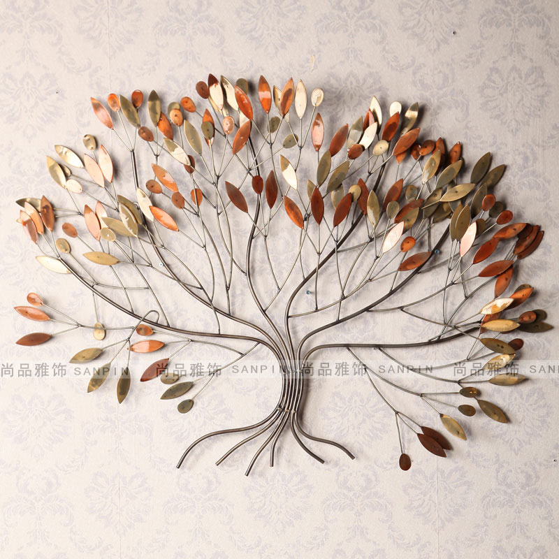 Antique American country pastoral style wrought iron wall background living room wall mural European perspective tree ornaments