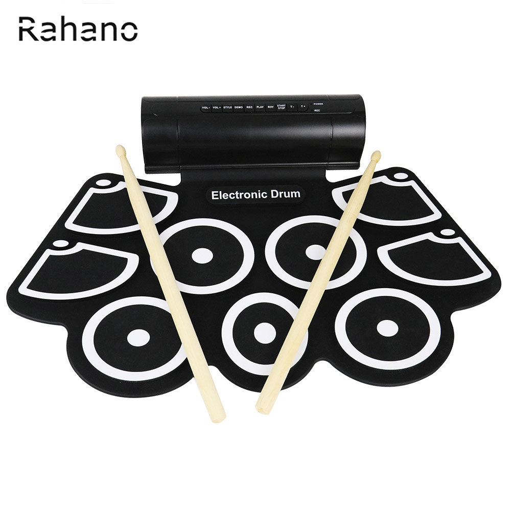 Rahano 9 Silicone Pad Electronic Roll Up Drum Support MIDI With Drumsticks Foot Pedals USB 3.5mm Audio Cable 9 pad silicon roll up electronic drum with drum sticks and usb cable for midi game percussion instrumenst drum lover