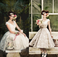 Hot Sales Cap Sleeve V-Neck Tea Length A-line Vintage Lace Short Wedding Dresses Bridal Gowns Size 4 6 8 10 12 14 16 18 ++ W726