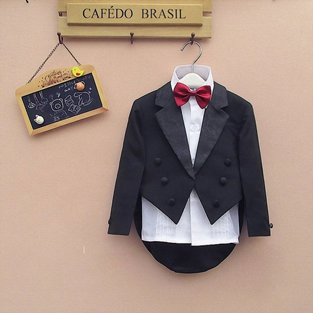Formal newborn baby boy Tuxedo wedding suits party Formal suits for 1-4T toddler  baby suits wear Boys Blazers suits 5-Piece e4d656dfe