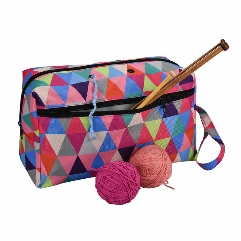 Yarn Storage Tote Knitting Bag Light Travel Yarn Storage Organize Bag for Crochet Hooks & Knitting Needles Kit Yarn Holder Bag