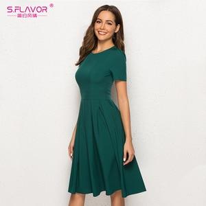 Image 4 - S.FLAVOR Women Summer A Line Dress Short Sleeve O Neck Knee Length Solid Dress New Fashion Women Vintage Green Midi Dresses