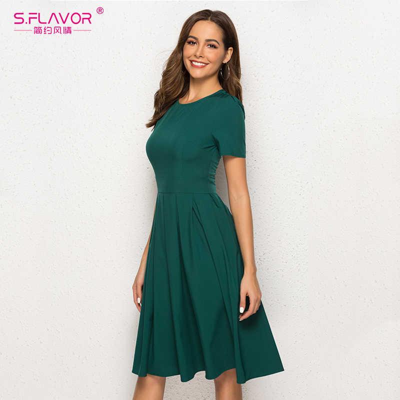 S. FLAVOR женское винтажное платье трапециевидной формы с коротким рукавом и круглым вырезом длиной до колена однотонное платье Новые Модные женские элегантные платья для вечеринок