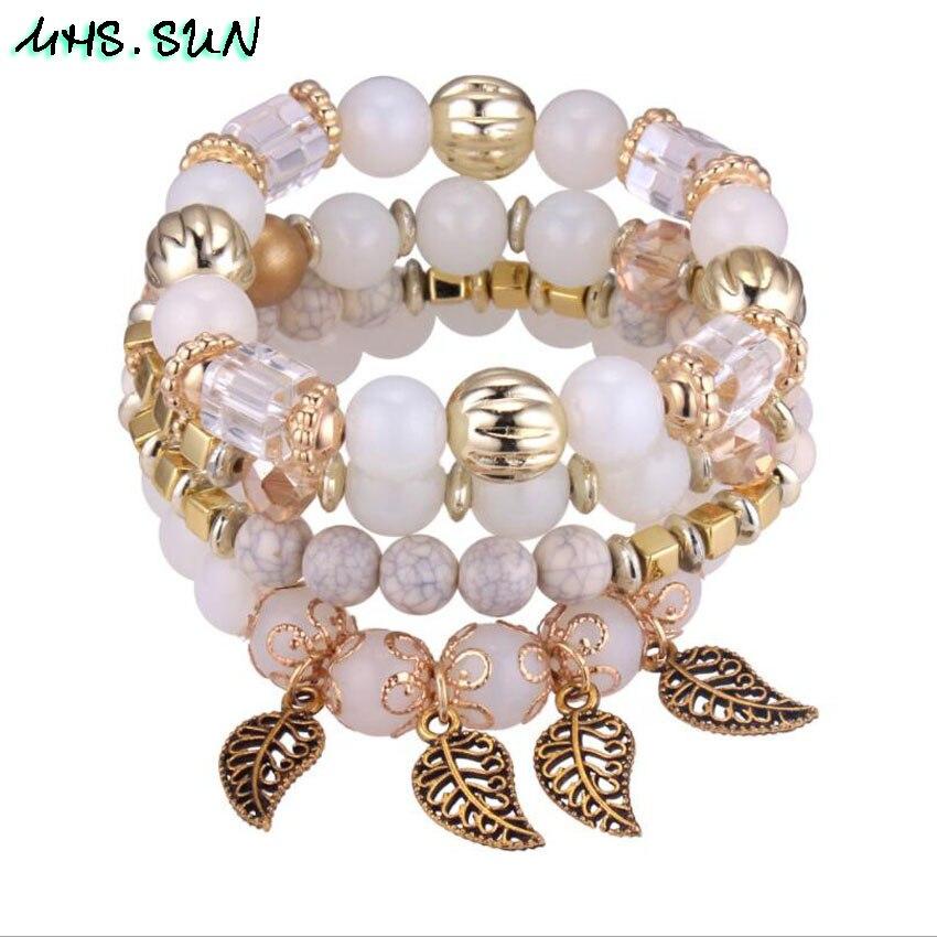 54-1Fashion Bohemia Women Beaded Bangles Bracelets Vintage European Girl Ethnic Layered Bracelets Bangles All-Match Jewelry