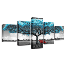 Blue Big Tree Red Chair Pictures Abstract Landscape Poster Wall Art