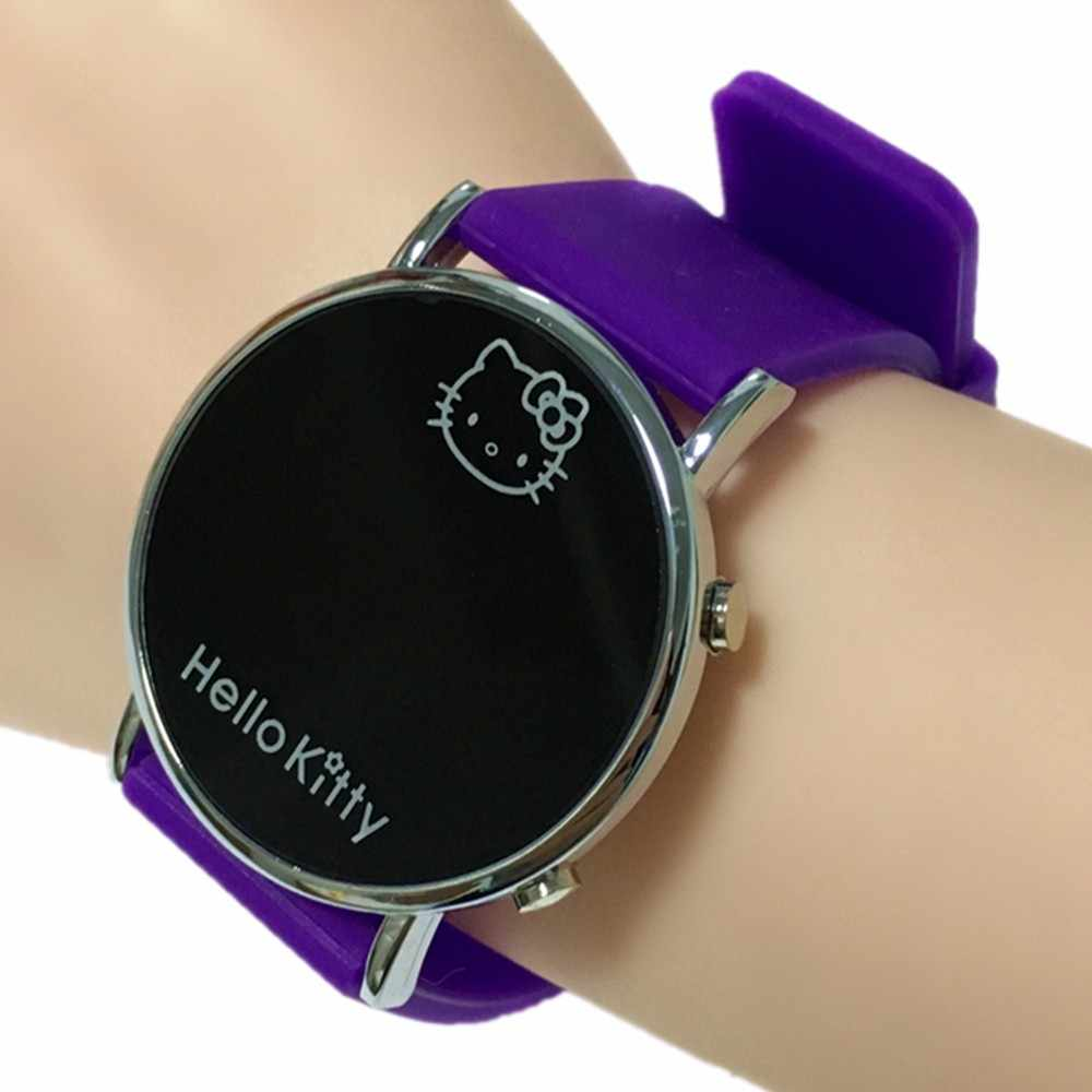 Led Display Hello Kitty Digital Watch for Children Best Gift Kid Girls Wirstwatches Cat Cute Women Watches Drop Shipping