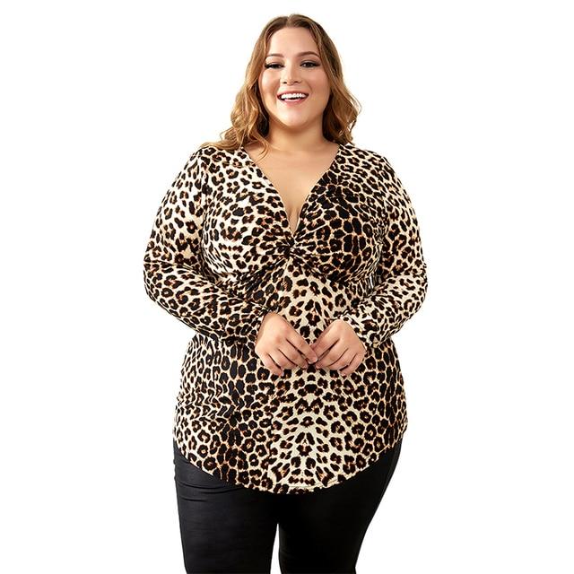 YTL Female Big Size Spring Autumn Grey Leopard Deep V Neck Long Sleeve Slim Tunic Top Large Size Blouses Women 5XL 6XL 7XL H088 1