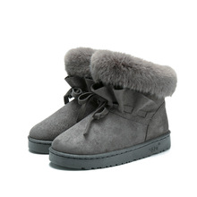 цены 2018 Winter Women Snow Boots Ankle Fur Boots Flat Fashion Shoes Woman Plush Slip-On Turned-over Edge Luxury Brand Ladies Shoes