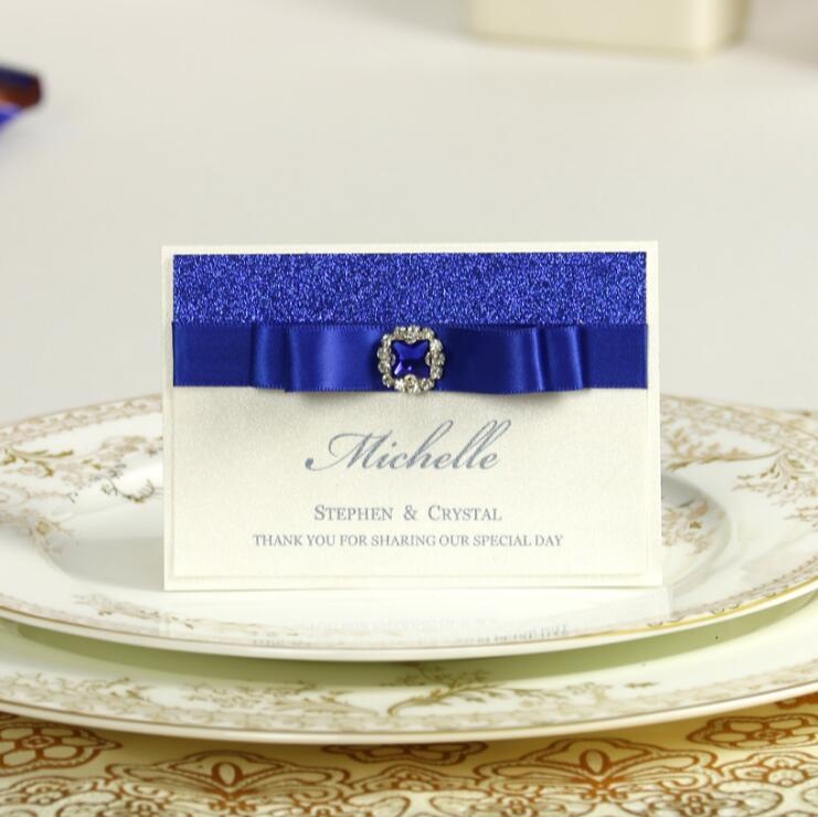 Blue Glitter Wedding Invitations Table Name Place Card Ribbon And Brooch  Bridal Shower Party Invitations Table