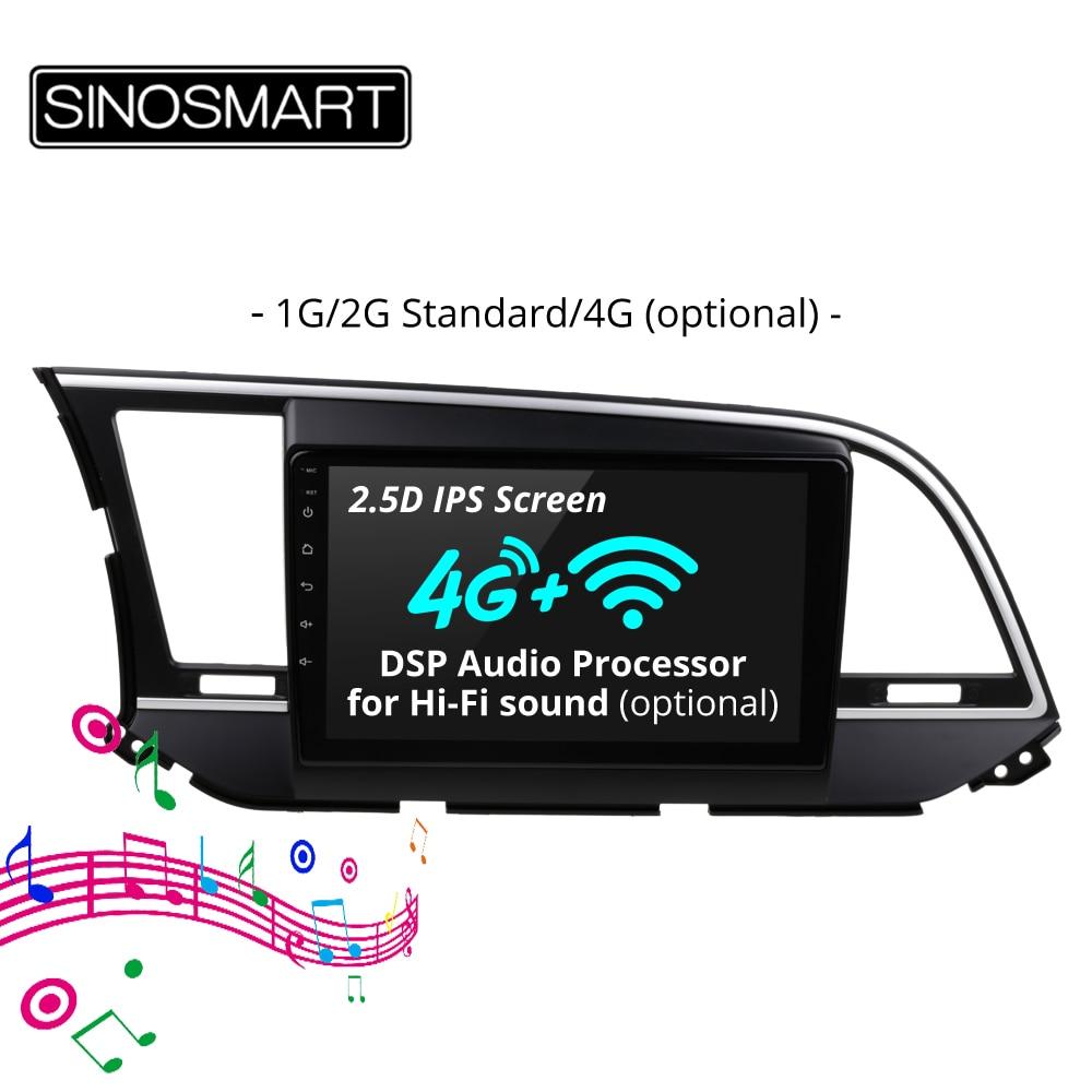 SINOSMART 2 5D IPS Screen 1G 2G Car Navigation GPS Player for Hyudai Elantra I35 2016