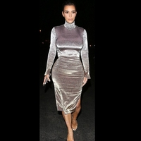 Ocstrade Bodycon Dress Celebrity Party Club Dress Vestidos 2017 New Year Gray Suede Sexy Long Sleeve