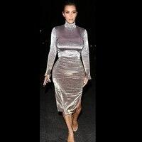 Ocstrade Bodycon Dress Celebrity Party Club Dress Vestidos 2017 New Year Gray Suede Sexy Long Sleeve
