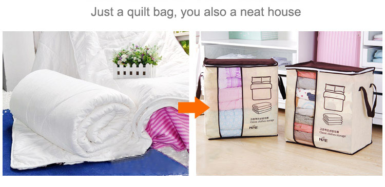 2018 new Non-woven Portable Clothes Storage Bag Organizer 45.5*51*29cm Folding Closet Organizer For Pillow Quilt Blanket Bedding 11