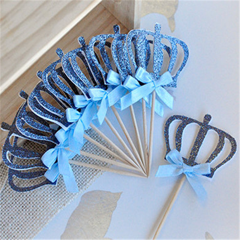 10pcs Custom Bow Color Gold Silver Blue Glitter Crown Cupcake Toppers Picks  Baby Shower Princess Kids Birthday Party Decorations-in Cake Decorating  Supplies ... 4290084c9aca