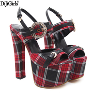 17cm High Heels Summer Wedding Shoes Fashion Gold Platform High Gladiator Sandals Punk High Heel Sandals