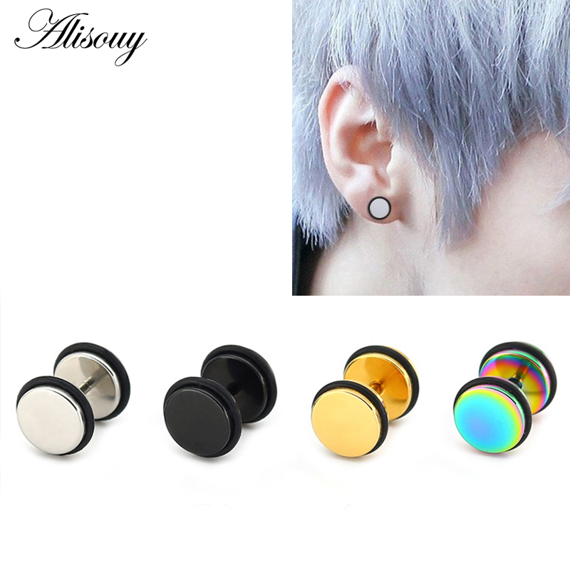 1 Pair Top Quality Fake Black Ear Stretcher Plugs Cheater Men/'s Earrings 3-12mm