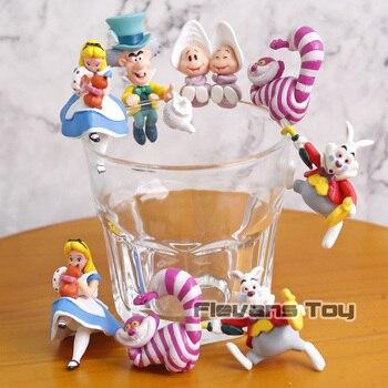 Край чашки Алиса Mad Hatter Чеширский Кот белый кролик ПВХ Фигурки игрушки куклы 5 шт./компл. >> Funny Romper Store