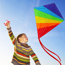100 x 90cm Outdoor Fun Sports Rainbow Colorful Diamond Kite With Handle And Line Good Flying