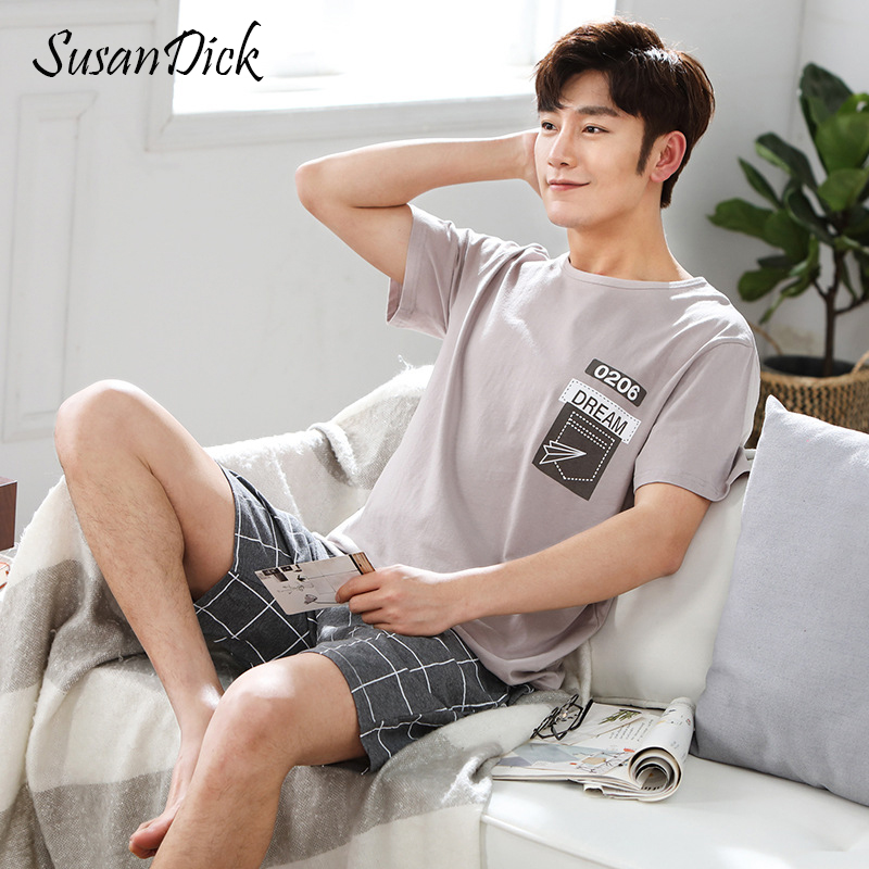 SusanDick Knitted Cotton Pajama Sets For Men Short Sleeve Summer Pyjama Set  Man Print Comfortable Sleep Shorts 2 Piece Sleepwear-in Men s Pajama Sets  from ... bfd725cc8