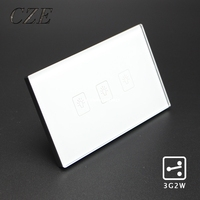 Standard Smart Touch Switch Crystal Glass Panel Wall Light Controler 3 Button 2 Way US