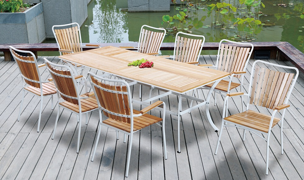 Cheap Patio Furniture Outdoor Plastic Wood Dining Table
