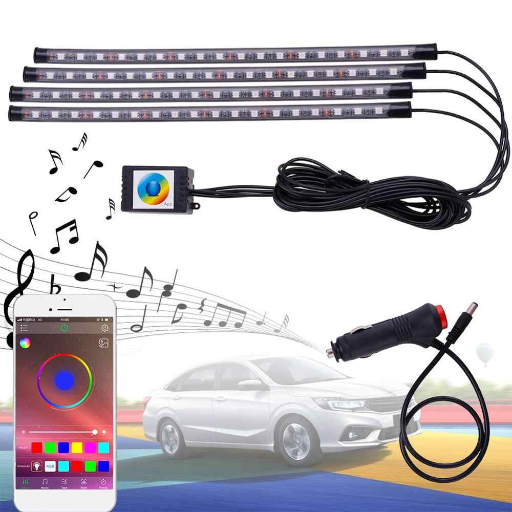4 Pcs 9/18LED Interieur Auto Bluetooth App Afstandsbediening Licht Muziek Voice Control Auto Led Verlichting Led Strip licht Rgb Led Tape