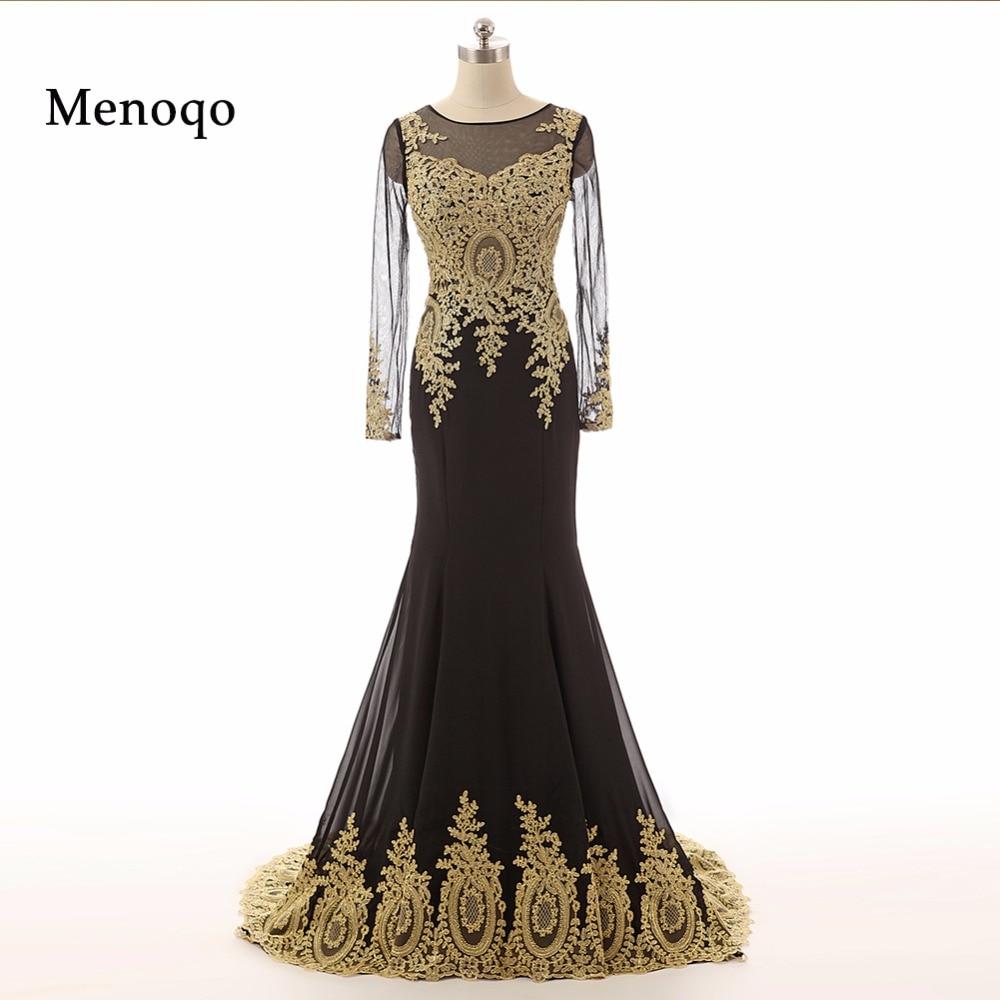 2019 Real Photo Elegant Black Chiffon Applique   Prom     Dresses   Long Sleeves Mermaid Formal Floor Length   Dress   vestidos de fiesta
