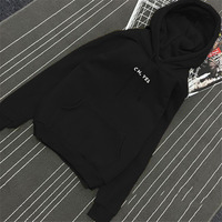 Autumn Winter Fleece Oh Yes Letter Harajuku Print Pullover Thick Loose Women Hoodies Sweatshirt Female Casual