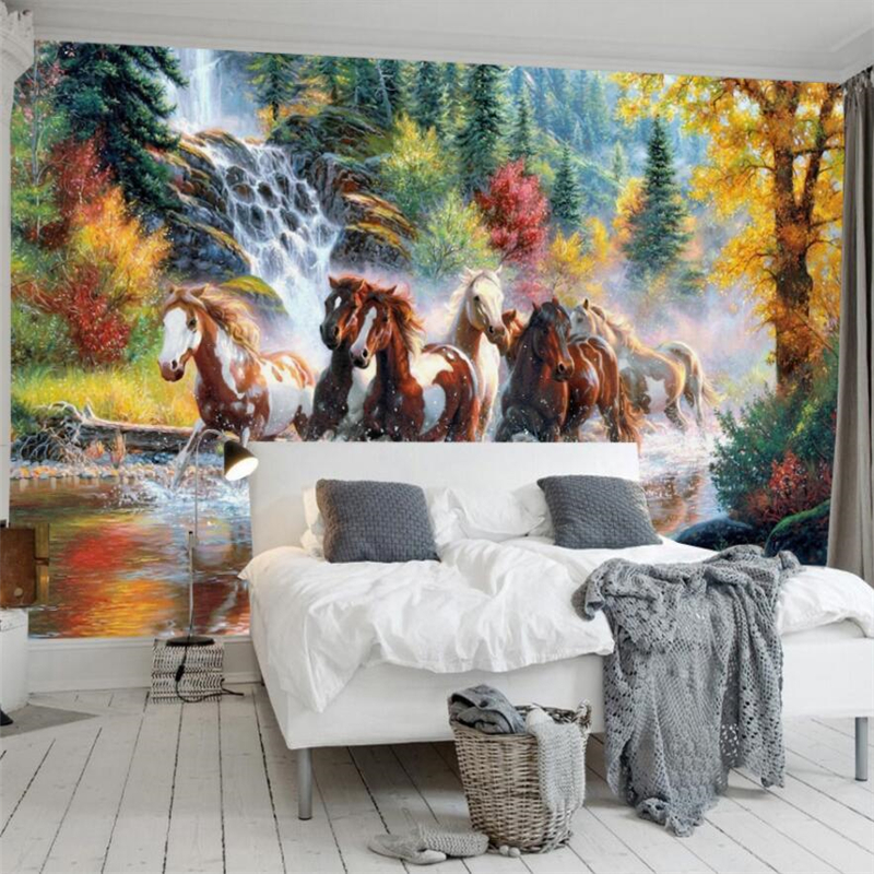Beibehang European modern simple abstract beautiful forest landscape river horse wall cu ...
