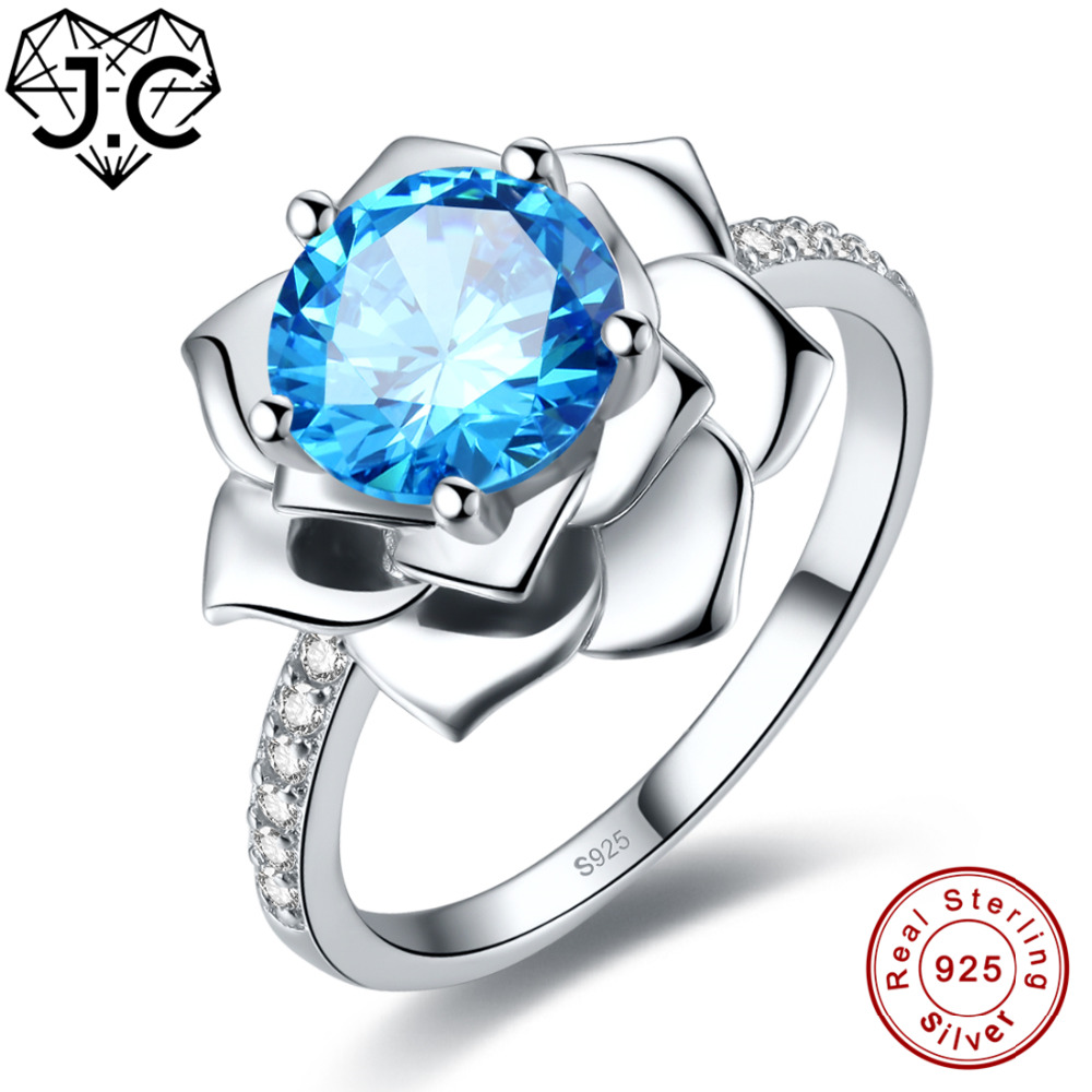 7c7b614e3792 J. C flor oval cut Sapphire estilo y Rosa y topacio blanco sólido 925 anillo  de plata esterlina tamaño 6 7 8 9 mujeres boda Joyería fina - a.mytecno.me