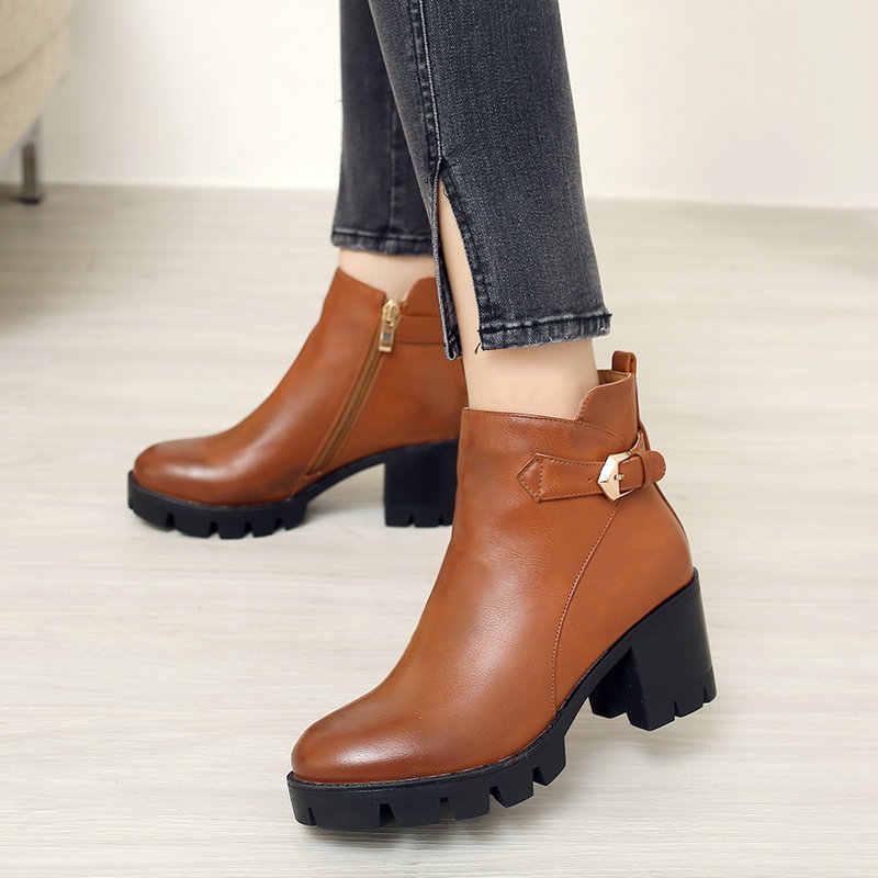 Kahverengi Siyah Sonbahar Kış Kadın yarım çizmeler Rahat Kalın Yüksek Topuk Çizmeler Retro Bayanlar Çizmeler Ayakkabı Fermuar 2020