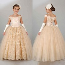 Lace Champagne Pageant Flower Girl Dresses Girls Communion Ball Gowns For Kids Short Sleeve Party Dresses For Wedding 2016 C221