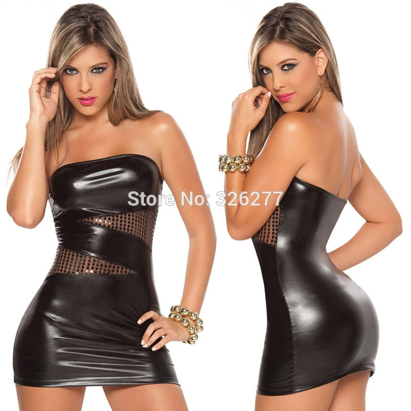 Buy latex bodysuit Black PVC Leather Lingerie Sexy BodySuits Women pvc lingerie Costumes Latex Bodysuit coating mesh material