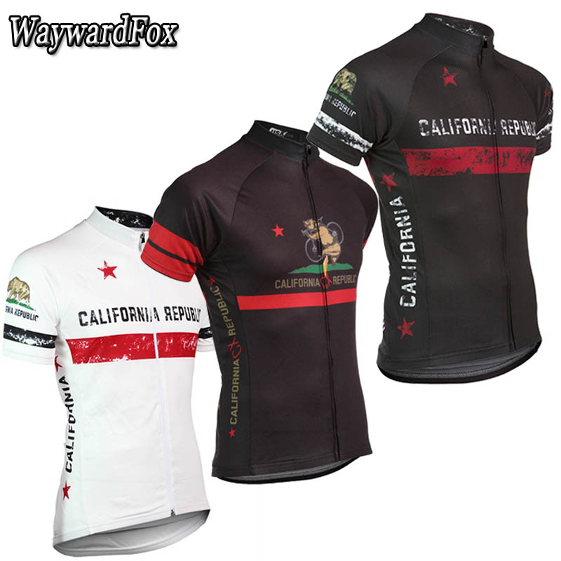 2019 NEW California Vintage Men's Race Jersey Black And White Cycling Jersey Top Short Sleeve Cycling Clothing Bike Wear Shirt